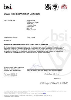 VG Rope Brake UKCA certificate